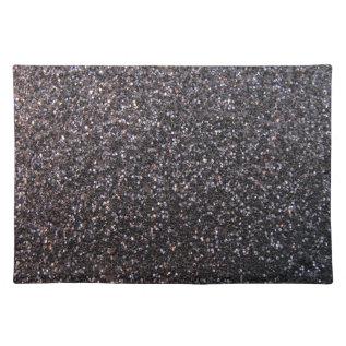 Black Faux Glitter Graphic Cloth Placemat at Zazzle