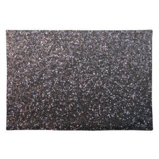 Black faux glitter graphic cloth placemat