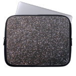 Black faux glitter graphic computer sleeves