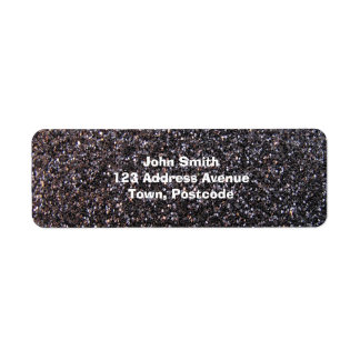 Black faux glitter graphic label