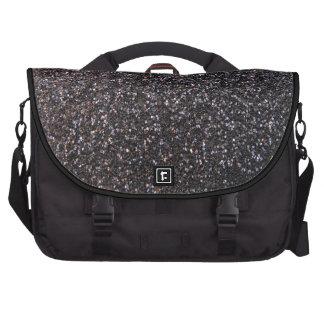Black faux glitter graphic laptop messenger bag