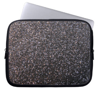 Black faux glitter graphic laptop sleeve
