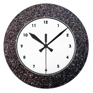 Black faux glitter graphic large clock