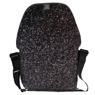 Black faux glitter graphic messenger bags
