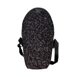 Black faux glitter graphic messenger bag