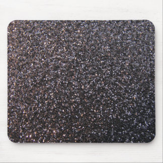 Black faux glitter graphic mouse pad