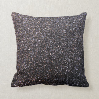 Black faux glitter graphic pillows