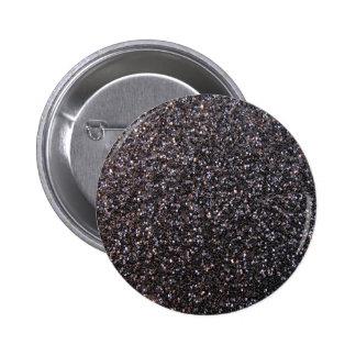 Black faux glitter graphic pinback button