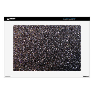 Black faux glitter graphic skin for laptop