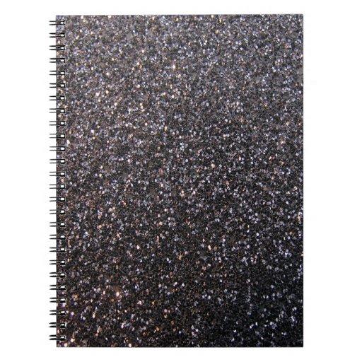 Black faux glitter graphic spiral notebook
