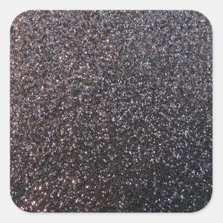Black faux glitter graphic square stickers