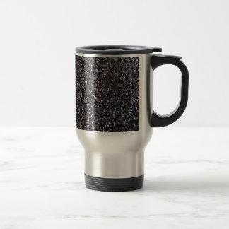 Black faux glitter graphic travel mug