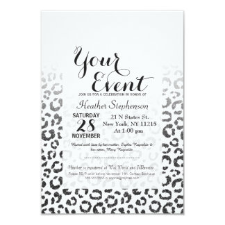 Black Faux Glitter Leopard Print Gradient 3.5x5 Paper Invitation Card