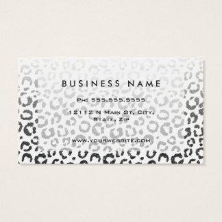 Black Faux Glitter Leopard Print Gradient Business Card