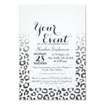 Black Faux Glitter Leopard Print Gradient Invitation