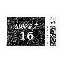 Black Faux Glitter Sweet 16 stamps
