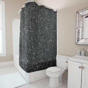 Black Faux Glitter White Sparkles Background Shower Curtain