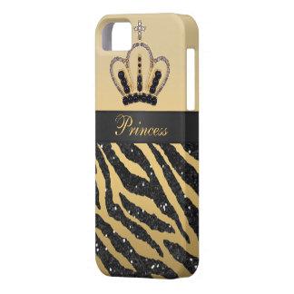 Black Faux Glitter Zebra Print & Jewel Crown iPhone 5 Cover