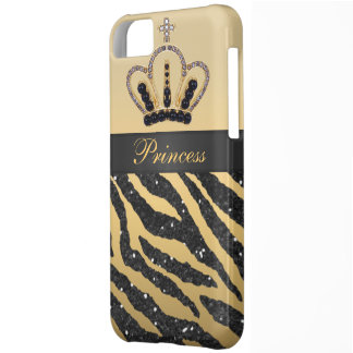 Black Faux Glitter Zebra Print & Jewel Crown iPhone 5C Cover