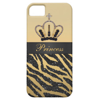 Black Faux Glitter Zebra Print & Jewel Crown iPhone SE/5/5s Case