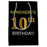 [ Thumbnail: Black, Faux Gold 10th Birthday + Custom Name Gift Bag ]