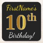 [ Thumbnail: Black, Faux Gold 10th Birthday + Custom Name Paper Coaster ]