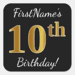 [ Thumbnail: Black, Faux Gold 10th Birthday + Custom Name Sticker ]