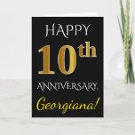 [ Thumbnail: Black, Faux Gold 10th Wedding Anniversary + Name Card ]