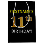 [ Thumbnail: Black, Faux Gold 11th Birthday + Custom Name Gift Bag ]