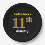 [ Thumbnail: Black, Faux Gold 11th Birthday + Custom Name Paper Plate ]