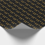 [ Thumbnail: Black, Faux Gold 11th (Eleventh) Event Wrapping Paper ]