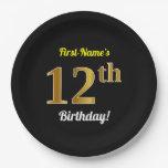[ Thumbnail: Black, Faux Gold 12th Birthday + Custom Name Paper Plate ]