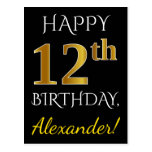 [ Thumbnail: Black, Faux Gold 12th Birthday + Custom Name Postcard ]
