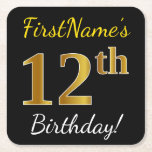 [ Thumbnail: Black, Faux Gold 12th Birthday + Custom Name Paper Coaster ]
