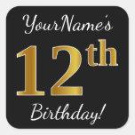 [ Thumbnail: Black, Faux Gold 12th Birthday + Custom Name Sticker ]