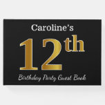 [ Thumbnail: Black, Faux Gold 12th Birthday Party + Custom Name Guest Book ]
