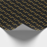 [ Thumbnail: Black, Faux Gold 12th (Twelfth) Event Wrapping Paper ]