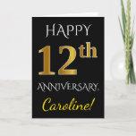 [ Thumbnail: Black, Faux Gold 12th Wedding Anniversary + Name Card ]