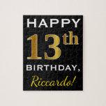 [ Thumbnail: Black, Faux Gold 13th Birthday + Custom Name Jigsaw Puzzle ]