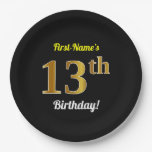 [ Thumbnail: Black, Faux Gold 13th Birthday + Custom Name Paper Plate ]