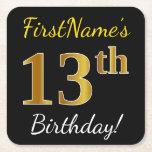 [ Thumbnail: Black, Faux Gold 13th Birthday + Custom Name Paper Coaster ]