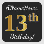 [ Thumbnail: Black, Faux Gold 13th Birthday + Custom Name Sticker ]
