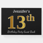 [ Thumbnail: Black, Faux Gold 13th Birthday Party + Custom Name Guest Book ]