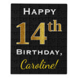 [ Thumbnail: Black, Faux Gold 14th Birthday + Custom Name Jigsaw Puzzle ]