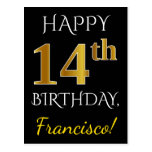 [ Thumbnail: Black, Faux Gold 14th Birthday + Custom Name Postcard ]