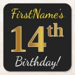 [ Thumbnail: Black, Faux Gold 14th Birthday + Custom Name Paper Coaster ]
