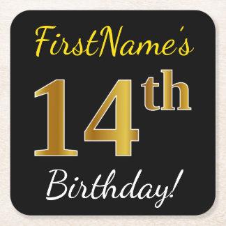 Black, Faux Gold 14th Birthday + Custom Name Square Paper Coaster