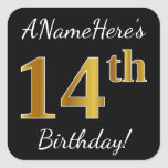 [ Thumbnail: Black, Faux Gold 14th Birthday + Custom Name Sticker ]