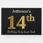 [ Thumbnail: Black, Faux Gold 14th Birthday Party + Custom Name Guest Book ]