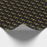 [ Thumbnail: Black, Faux Gold 14th (Fourteenth) Event Wrapping Paper ]